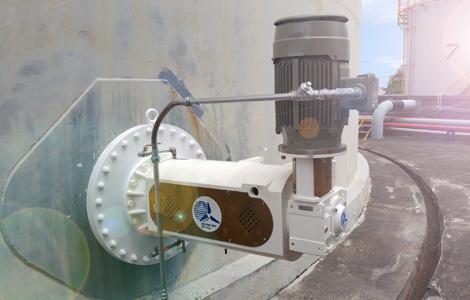 安裝在儲槽的側進式攪拌機